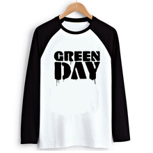Novel Punk Rock Music Green Day 2016 Autumn Mens Ink Graphic Print Raglan Long Sleeve T-shirt Swag Skatboard Printed Tshirt