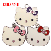 Real Capacity USB flash Crystal Hello Cat flash card 4GB/8GB/16GB/32GB Girl gift pendrive hot selling for gifts Red/Pink/Purple(China)