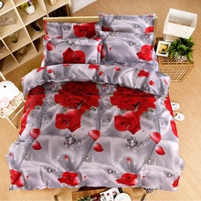UNIKEA . . Home textiles New The red pink flower 3D 4pcs Bedding Sets Duvet/Comforter Cover Bed Sheet Bedclothes,Cotton/Polyeste