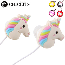 Cute Unicorns Cartoon Earphones Colorful Rainbow Horse In-ear Earphone 3.5mm Mini Earbuds With Mic For Smartphone Girl Kids Gift(China)