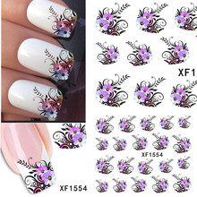 1sheets Hot DIY Designs Pretty Flower Water Stickers Nail Art Manicure Polish Tools Beauty Nail Art Stickers Decals TRXF1554(China)