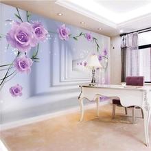 3D  Rose stereoscopic wall paper  TV backdrop wallpaper Canvas living room bedroom wallpaper mural