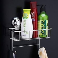 Stainless Steel Kitchen Bathroom Square Storage Basket Vacuum Suction Cup 2 Hooks Holder Organizer Shelf Utility Rack Hanger(China)
