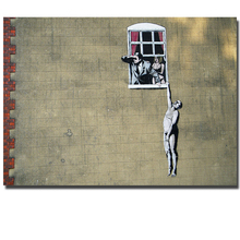 Banksy Person window affair naked Canvas Art Print Painting Poster, Wall Pictures For Home Decoration, Frame not include