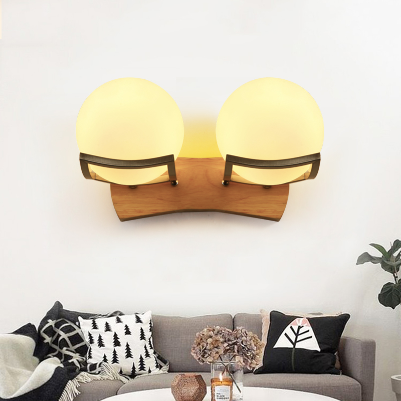 NEO Gleam Frosted glass wood Minimalism Oak Modern wooden Wall Lamp Lights For Bedroom Home Lighting Wall Sconce solid wooden<br>