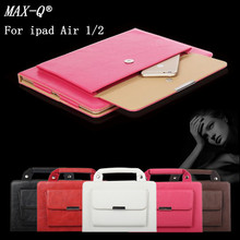 MAX-Q NEW 2016 High Quality Carrying HandBag pu Leather Case for iPad air 1 2 Purse Style Pocket Cover For ipad 5 6