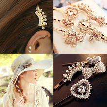 2016 Pearls Crystal Hair Clip Barrettes Hair Accessories Fashion Girls Women Bowknot Heart Crown Flower Cute Headwear Hair Clips(China)