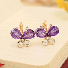 TOMTOSH 2016 The New fashion exquisite The crystal earrings multicolor crystal butterfly earrings - factory lowest price