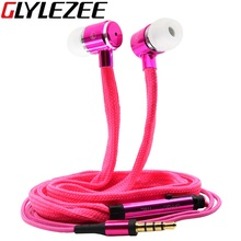 Glylezee Shoelaces Ear Hook Stereo Metal Bass Head Earphone Headset Music Earpieces with Mic Remote Control for Cellphone