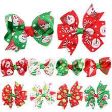 10PC children bow tie hairpin 10 Pieces Girl Baby Christmas Ornaments Bowknot Hairpin Headdress #45(China)