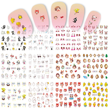 STZ 12 Designs Water Nail Art Tips Cartoon Lovely Express Cat Monkey Pattern for Nail Sticker Decals Gel Polish Tips BN481-492