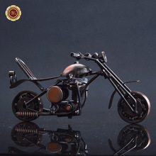 Free shipping Antique Handmade Metal Motorcycle Crafts Retro Iron Motorbike Model Home Office Decoration Gifts