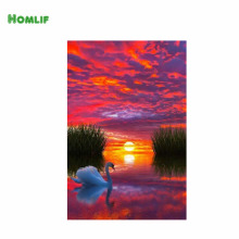 "HOMLIF New Needlework Resin Diamond Embroidery Diy Diamond ""lake and swan""Painting Rhinestones Full Drill Diamond"