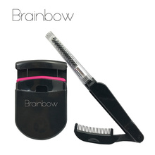 Brainbow Eyes Beauty Tools Set 1pc Eyelashes Curler Plastic+1pc Eyelashes Brush Folded Box Package Eyelashes Make Up Maquiagem(China)
