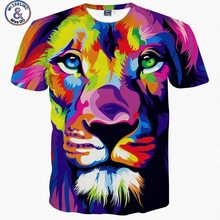 Mr.1991INC Impression style men/women 3d T-shirt printing watercolor lion animals summer cool slim t shirt tops tees Asia size