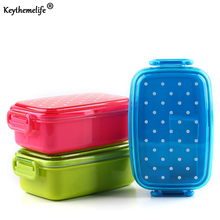Portable Polka Dot Lunch Boxs Food Container Kids fruit Snack Microwave bento Lunch boxs A3(China)