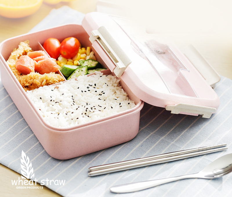 Japanese Style Plastic Wheat Straw Bento Lunchbox Portable Kids School Student Lunch Boxs Modern Picnic Camping Food Container7