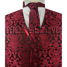 hot sale free shipping red fashion paisley pattern tuxedo vest(vest+necktie+bowtie+handkerchief)(China)