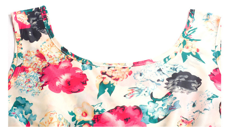 Summer Dress O-Neck Florals Print Formal Dress 11