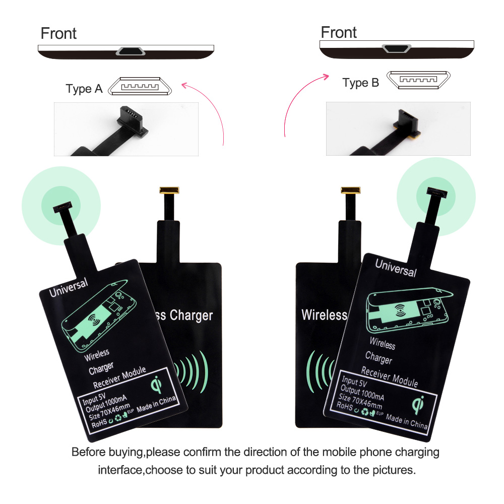 Proelio Universal Qi Wireless Charger Receiver For iPhone 5S SE 7 6S 6 Plus Pad Android Micro USB Type C Smart Charging Receptor (8)