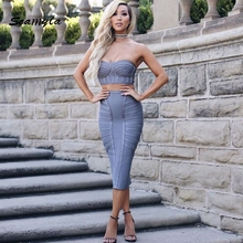 Seamyla new sexy strapless two piece set women bandage dresses 2017 mid calf grey black bodycon ladies celebrity party dress