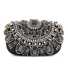 2017 Top Promotion Single Shoulder Bags Gemstone Beaded Day Clutches Diamonds Evening Bag Banquet Wedding Party Handbags Purses(China)