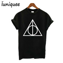 Cotton Hipster tops t-shirt Deathly Hallows Symbol Logo Triangle Print Women t shirt Tee White/Black tees(China)