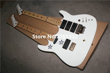 Wholesale popular factory double neck white Kra electric guitar with pentagram inlay,gold hardware,one is floyd rose bridge