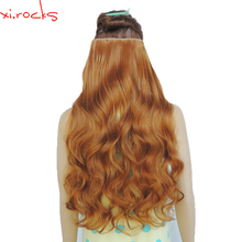 2 Piece Xi.Rocks 5 Clip in Hair Extension 70cm Synthetic Hair Clips Extensions 120g Curly Hairpin Hairpiece Ginger Color 27S
