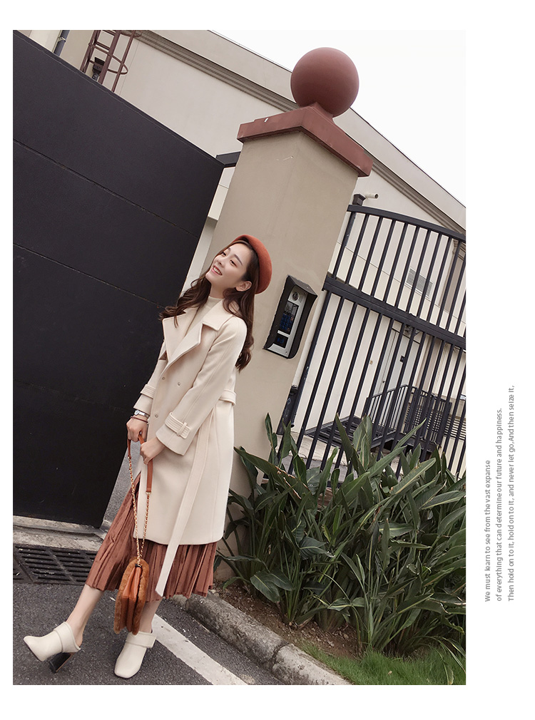 Mishow 19 autumn and winter woolen coat female Mid-Long New Korean temperament women's popular woolen coat MX17D9636 9