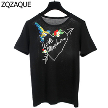 American Apparels 2017 Summer New Brand Designer Women's Knitting Tops Fashion Girls 3D Embroidery Bird Letters T-shirts SY1142(China)