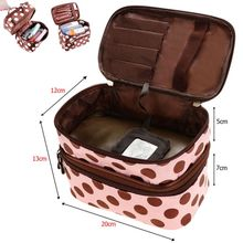 Double Layer Small Dots Cosmetic Bag Makeup Tool Storage Bag Multifunctional Storage Package Fashion(China)