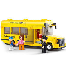 Sluban 0507 218pcs Yellow School Bus Building Bricks Blocks Set Kids Toys Compatible Lepine City bus