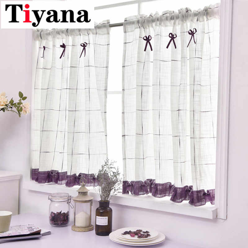 Living room drapery Rustic Window Screen Half Curtain Kitchen Gauze Cabinet Dust Curtain Balcony Toilet Small Curtains DL013D4