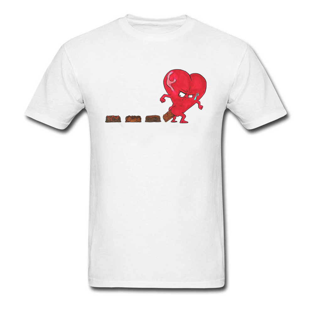 Design Chocolate Filled Heart Geek Short Sleeve Autumn Tops & Tees Wholesale Round Collar Cotton Fabric Tee Shirts Boy T Shirts Chocolate Filled Heart white
