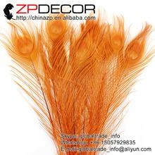 ZPDECOR 50pcs/lot 25-30cm(10-12inch) Hand Select Premium Quality Orange Dyed Peacock Feathers For Halloween Costume Decorative