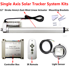 "12"" 300mm Stroke 12Volt DC Linear Actuator &Controller &Light Sensor &IR Remote DIY Single Axis Solar Panel Tracker Tracking Kit"