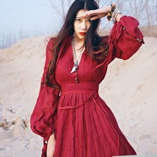 Women Red Maxi Dress 2017 Summer Nation Style Loose Red Dage Dress Cotton Linen Fashion Beautiful Dresses