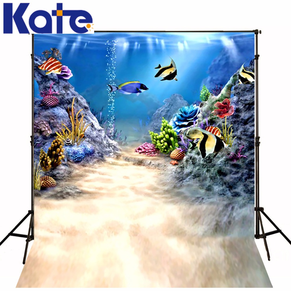 Kate 5*7ft free animated backgrounds photo dieren fotografie studio Underwater world Animal Plant 3D Baby Photography Backdrops<br>