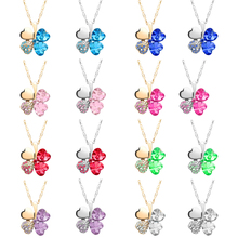 2017 Crystal Necklace Made with Swarovski Elements Four Leaves Clover Pendant Jewelry Choker Collier Women Accessories Gift