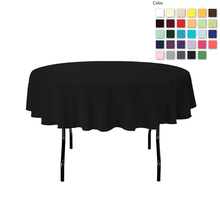 FEDEX IE 70in./180cm Diameter Round  Polyester Black Tablecloth for Wedding Event Banquet Party, 20/Pack