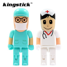 Hot Mini USB Flash Drive 32GB Pen drive Gift Cartoon Doctors nurse pendrive 4GB/8GB/16GB/64GB u disk for gift(China)