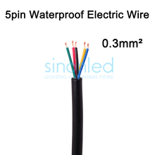 Wholesale 50m 5pin 5 core waterproof electrical wire, 22AWG PVC insulated extend Black Cable, waterproof connector(China)