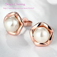 Rose Gold Color Nickle Free Elegant Pearl Ear Studs Earrings For Women Fashion Jewelry,Welcome Mixed Wholesale E022(China)