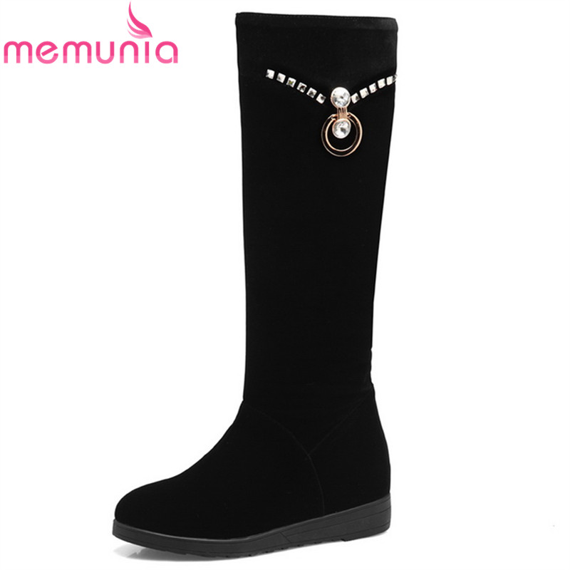 MEMUNIA hot sale new arrive black women boots flock crystal height increasing ladies boots autumn winter slip on knee high boots<br>