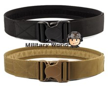 "2 Colors 2.0"" Airsoft Tactical Load Bearing Nylon Duty Web Belt Men Outdoor Military High Quality Army Belt  BK/TAN"
