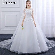 Buy 2018 New Ball Gown Vestido De Novia Tulle Wedding Dress O-Neck Lace embroidery applique long Trailing shawl white wedding dress for $99.36 in AliExpress store