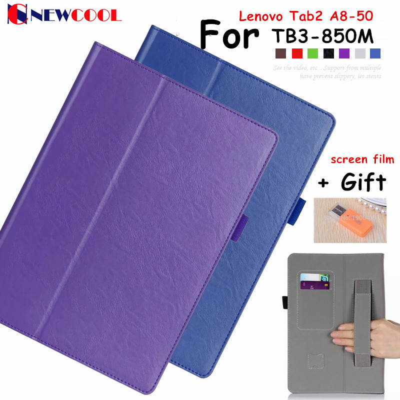 Tab3 A8 TB3-850M Flip Cover For Lenovo Tab2 Tab 2 A8-50F A8 Tablet Case PU Leather Case Cover Shell+ Hand Holder + Card Slot<br><br>Aliexpress
