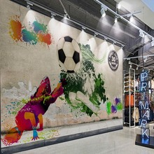 Custom photo wallpaper Street graffiti mural hip hop soccer tooling background wall corridor gallery sports equipment shop mural