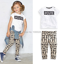 Girls clothing sets 2015 summer baby girl's clothes sets Kids apparels animal children legging + top two pieces Clothing sets
